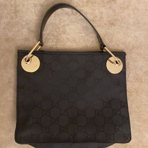 💯 Authentic Y2K canvas gold Gucci small bag